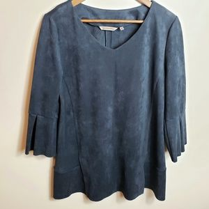 Soft Surroundings 3/4 Sleeve Faux Suede Top
